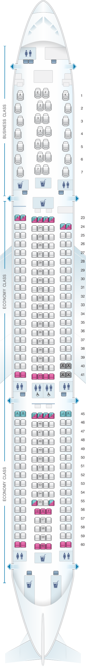 Seat map for Qantas Airways Airbus A330 300