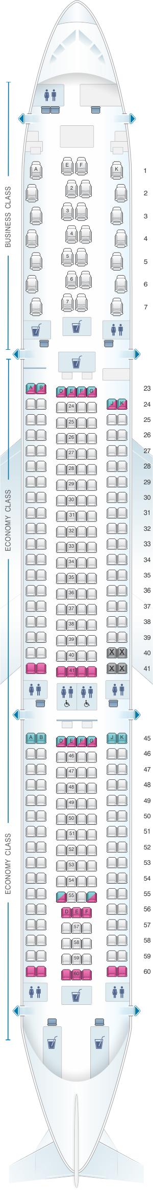 Seat Map Qantas Airways Airbus A330 300 | SeatMaestro