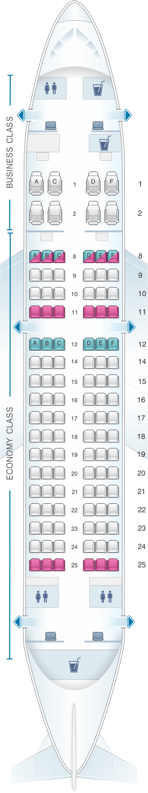 Seat map for Qatar Airways Airbus A319LR 110pax