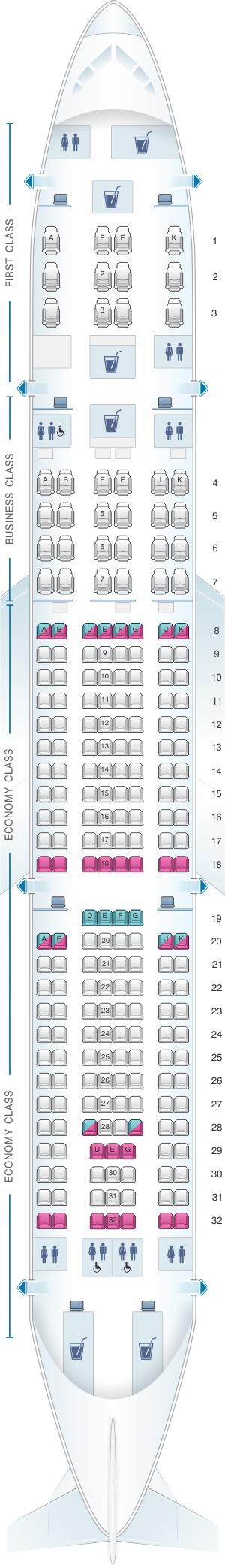 Seat map for Qatar Airways Airbus A330 200 228pax