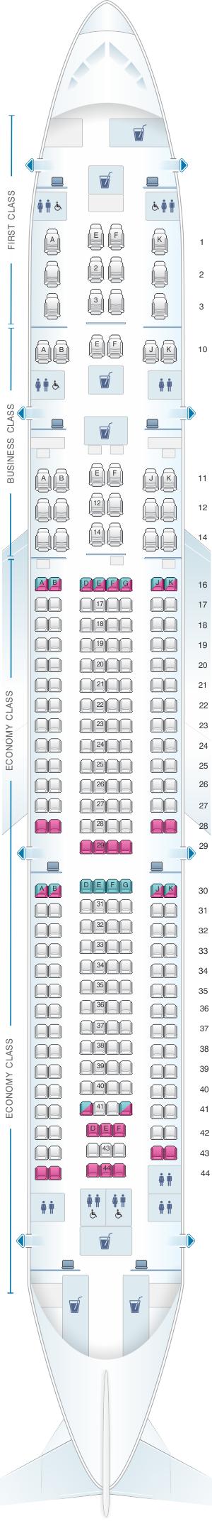 Seat map for Qatar Airways Airbus A330 300 259pax