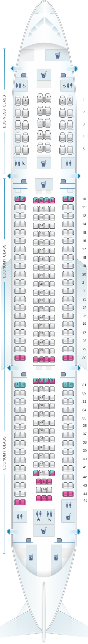 Seat map for Qatar Airways Airbus A330 300 305pax