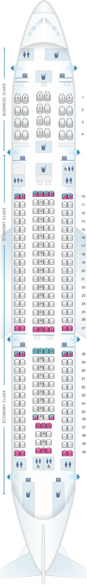 Seat map for Qatar Airways Airbus A330 200 260pax