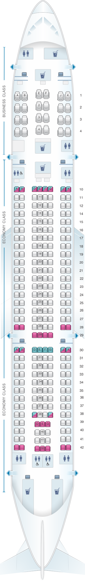 Seat map for Qatar Airways Airbus A330 200 272pax