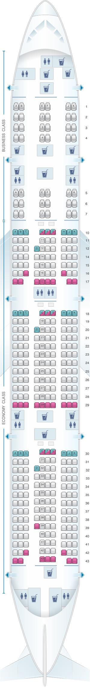 Seat map for Qatar Airways Boeing B777 300ER 358pax