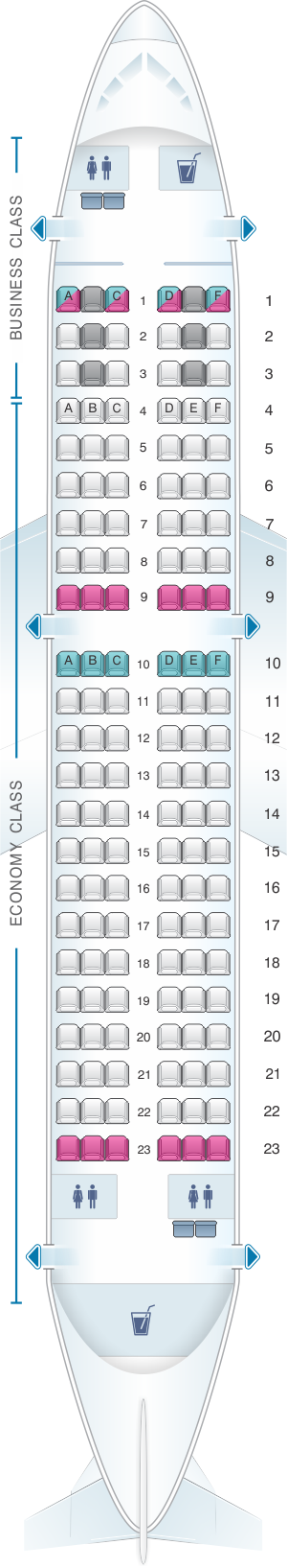 Seat map for Rossiya Airlines Airbus A319 132PAX