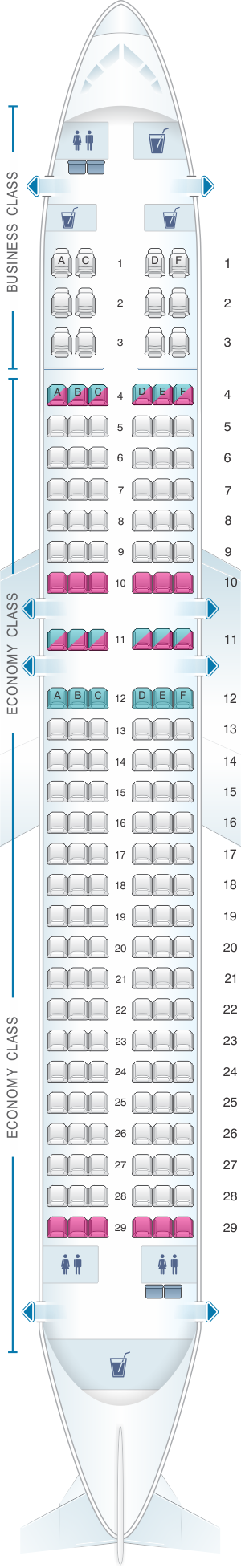 Seat map for Rossiya Airlines Airbus A320 156PAX