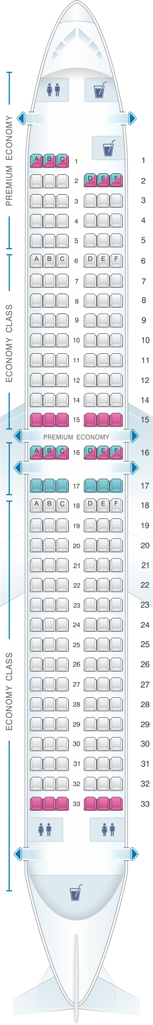 Seat map for Ryanair Boeing B737 800