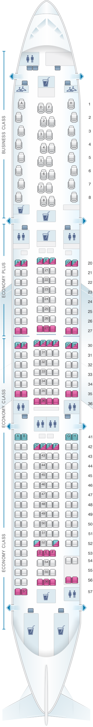 Seat map for Scandinavian Airlines (SAS) Airbus A330 300