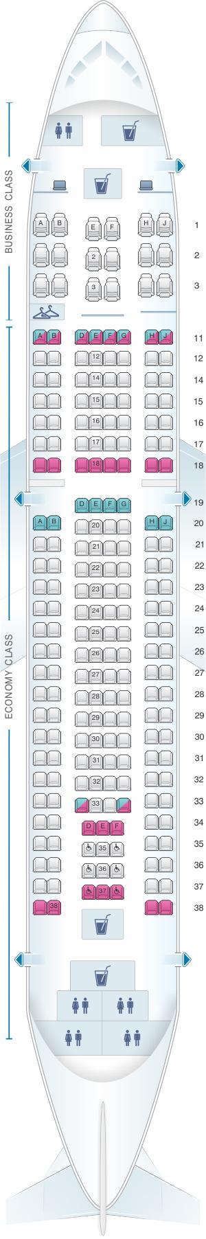 Seat map for SATA Air Açores Airbus A310-300 Config. 1