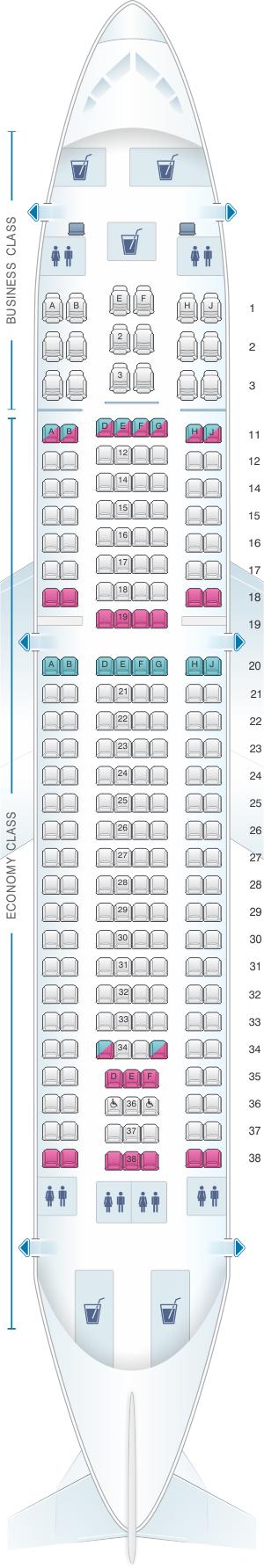 Seat map for SATA Air Açores Airbus A310-300 Config. 2