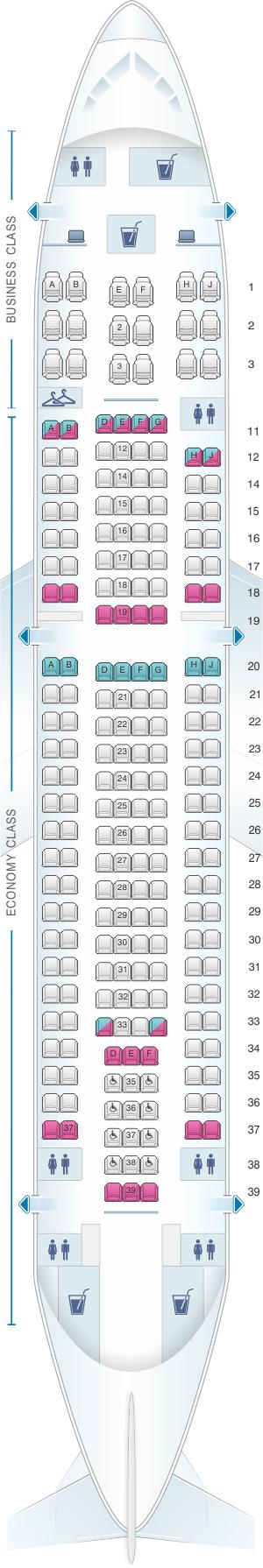 Seat map for SATA Air Açores Airbus A310-300 Config. 3