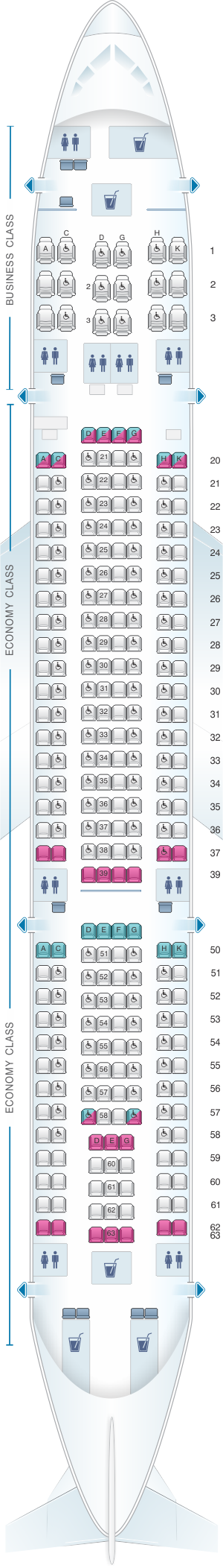 Seat map for SriLankan Airlines Airbus A330-200 Config. 3