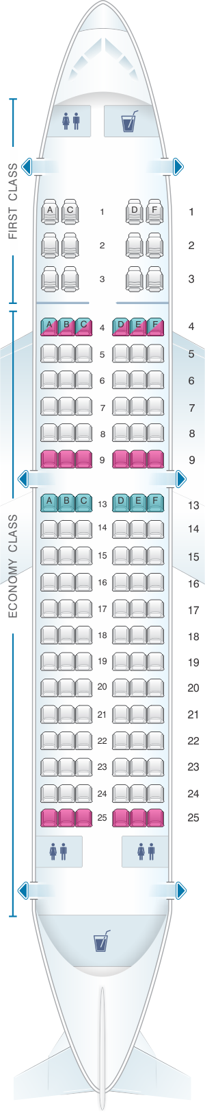 Seat map for Sun Country Airlines Boeing B737 700 126pax