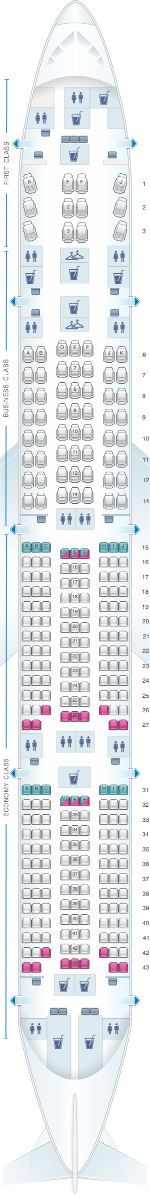 Seat map for TAAG Angola Airlines Boeing B777 300ER