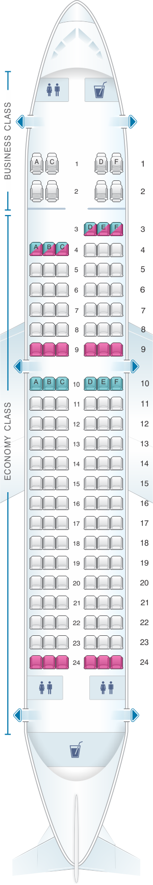 Seat map for TAP Air Portugal Airbus A319