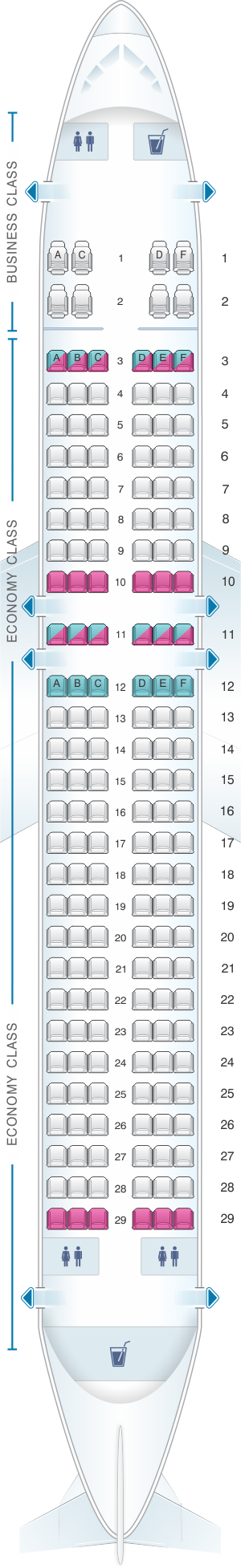 Seat map for TAP Air Portugal Airbus A320