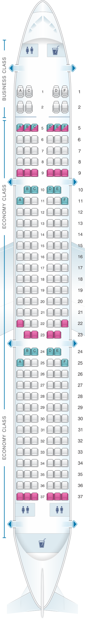 Seat map for TAP Air Portugal Airbus A321