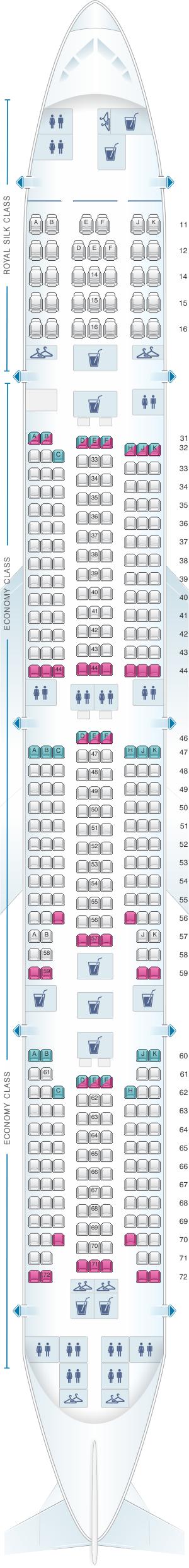 Seat map for Thai Airways International Boeing B777 300 (773)