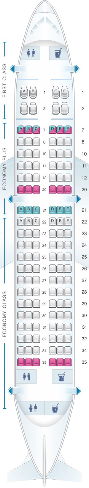 Seat map for United Airlines Airbus A319 - version 1