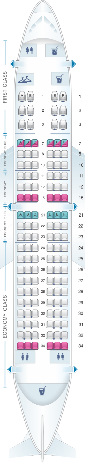 Seat map for United Airlines Boeing B737 700 - version 2