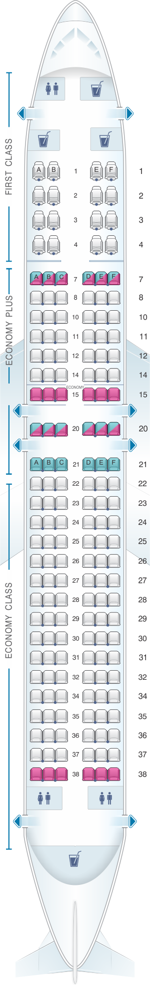 Seat map for United Airlines Boeing B737 800 - version 2