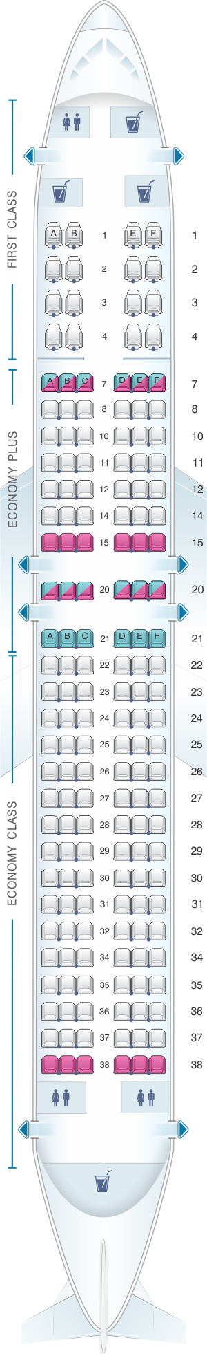 Seat map for United Airlines Boeing B737 800 - version 3