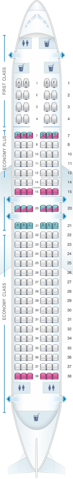 Seat map for United Airlines Boeing B737 800 - version 4