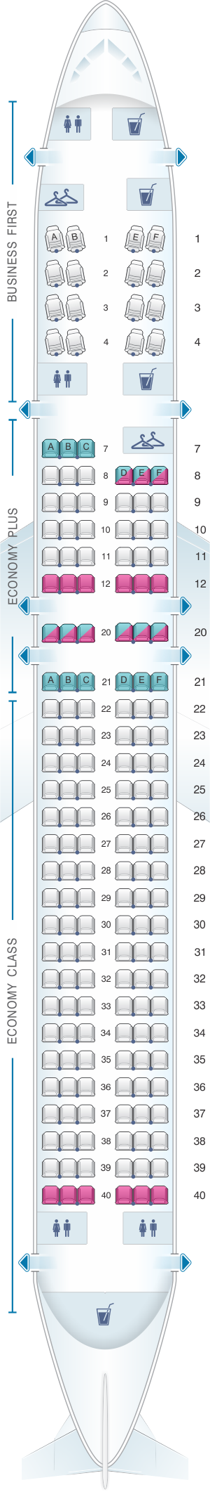 Seat map for United Airlines Boeing B757 200 (752) - version 1