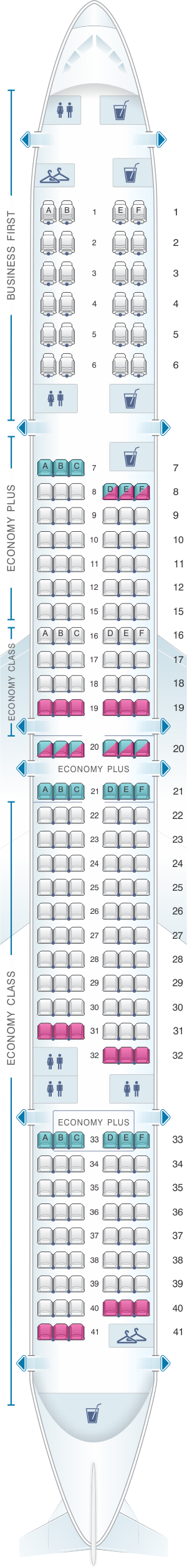 Seat map for United Airlines Boeing B757 300 (753)