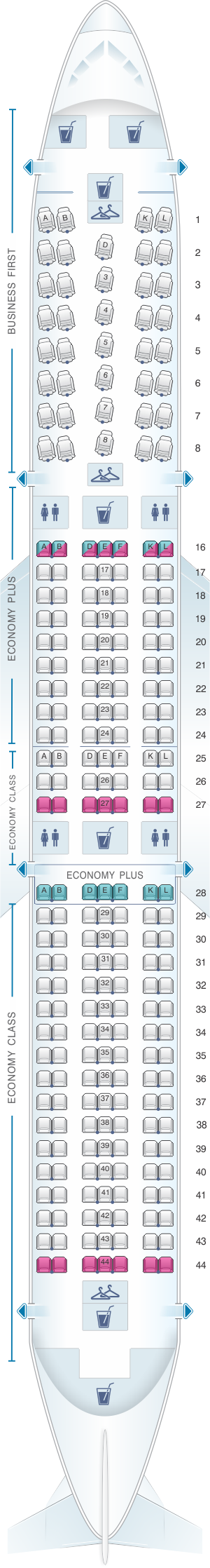 Seat map for United Airlines Boeing B767 400ER (764)
