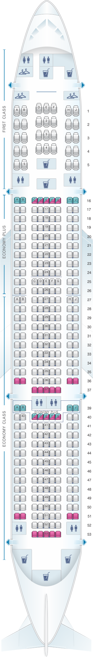 Seat map for United Airlines Boeing B777 200 (777) - version 3