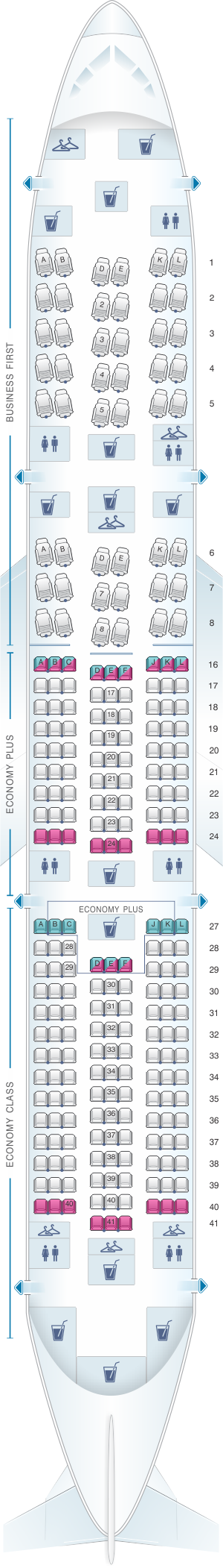 Seat map for United Airlines Boeing B787-9 Dreamliner