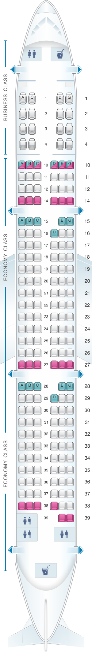 Seat map for Vietnam Airlines Airbus A321 Config.2