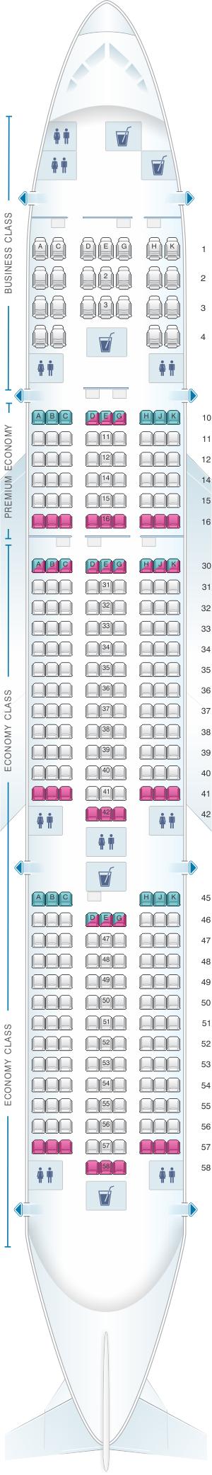 Seat map for Vietnam Airlines Boeing B777 200ER V1