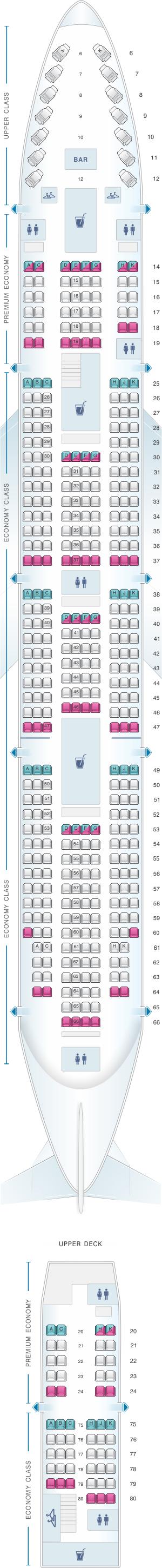 Seat map for Virgin Atlantic Boeing B747 400
