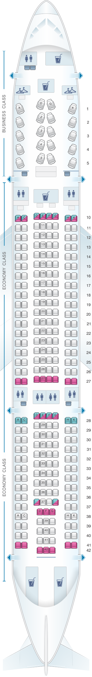 Seat map for Virgin Australia Airbus A330 200