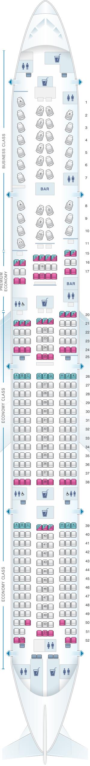 Seat map for Virgin Australia Boeing B777 300