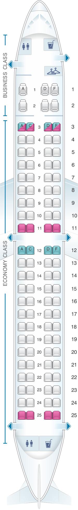 Seat map for Virgin Australia Embraer 190