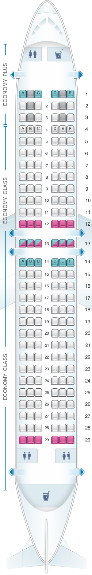 Seat map for WestJet Boeing B737 800