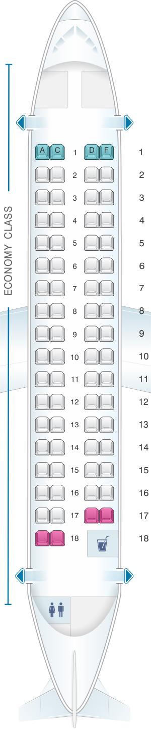 Seat map for White Airways ATR 72 600