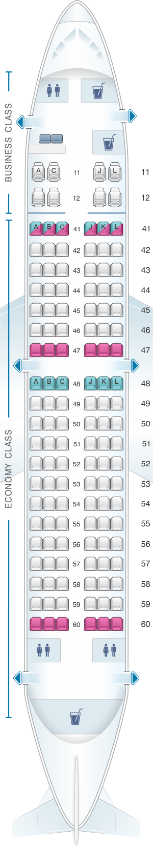 Seat map for Xiamen Airlines Boeing B737 700 128pax