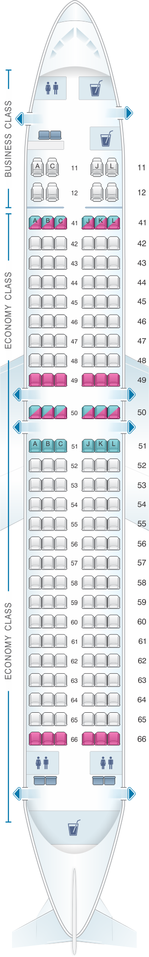 Seat map for Xiamen Airlines Boeing B737 800 164pax