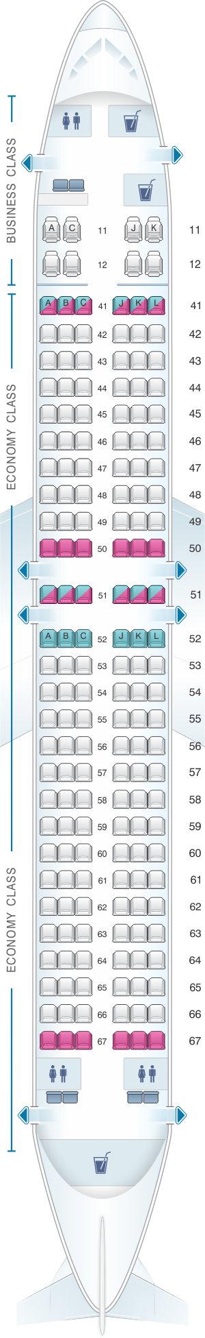 Seat map for Xiamen Airlines Boeing B737 800 170pax