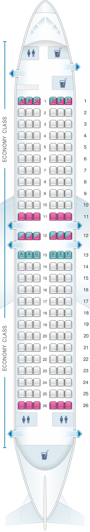 Seat map for Xtra Airways Boeing B737 400 156pax