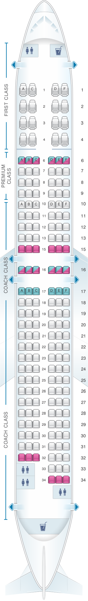 Seat map for Alaska Airlines - Horizon Air Boeing B737 900