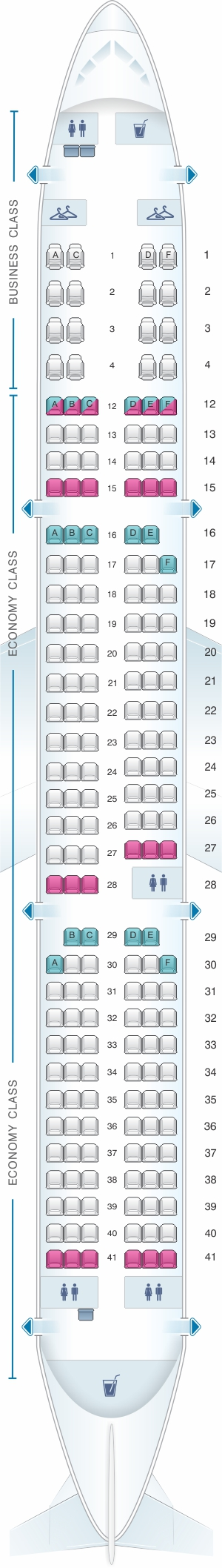 Seat map for Air Canada Airbus A321 200