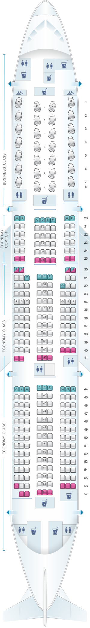 Seat map for Delta Air Lines Boeing B777 200LR