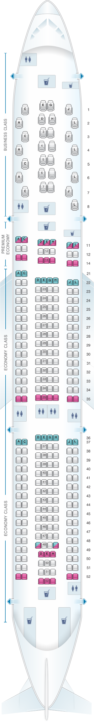 Seat map for Iberia Airbus A330 300