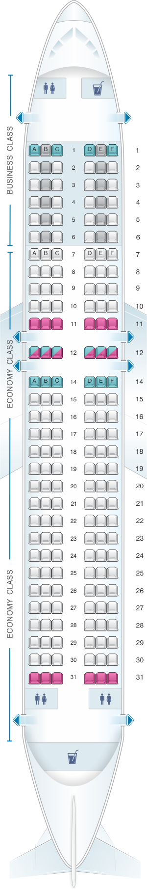 Seat map for Iberia Airbus A320